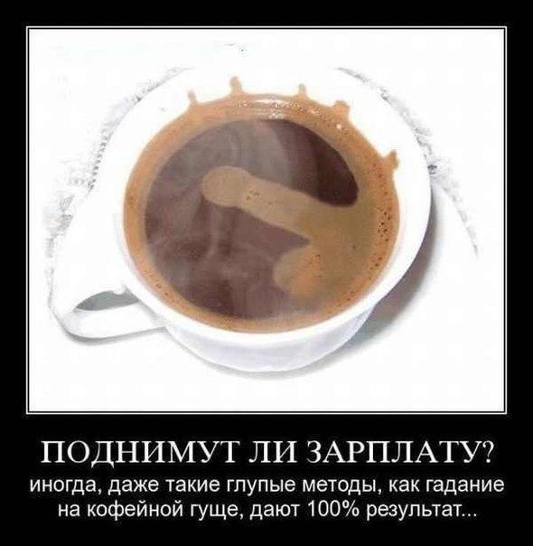 Поднимут ли зарплату? Иногда, даже такие глупые методы, как гадание на кофейной гуще, дают 100% результат. Демотиватор