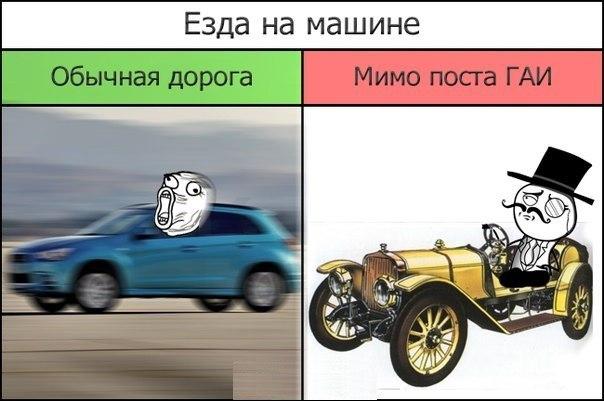 Езда на машине по обычной дороге и мимо поста ГАИ