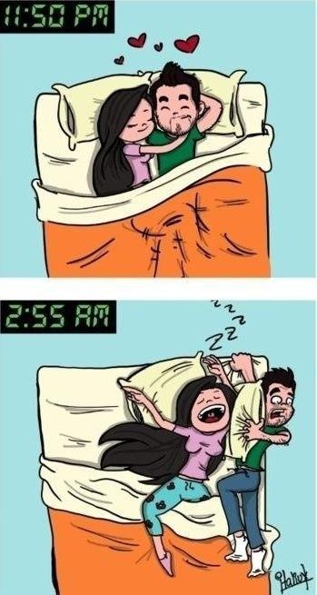 Как мы засыпаем вечером, и как просыпаемся ночью). Девушки - сильный пол