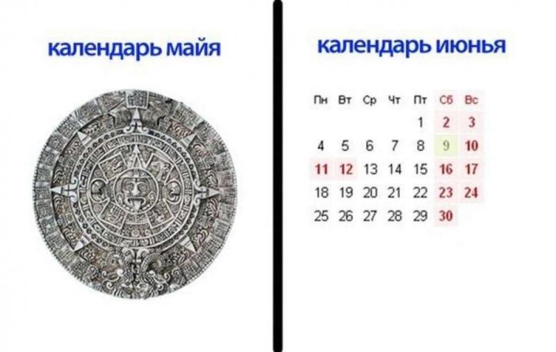Календарь майя и календарь июнья