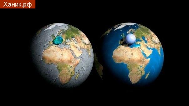 Визуализация, которая показывает всю воду в мире включая моря, лед, озера, реки, грунтовые воды, облака и т.д., на единственной сфере.