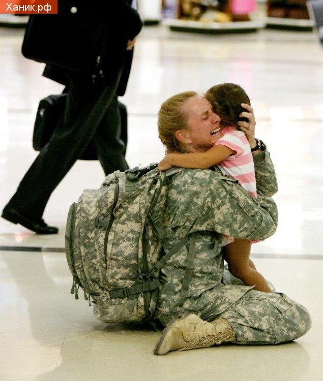 Встреча матери с своей дочерью, после службы в Ираке