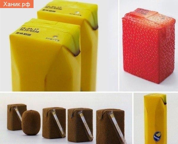 Креативная реклма сока. Упаковки в виде фруктов