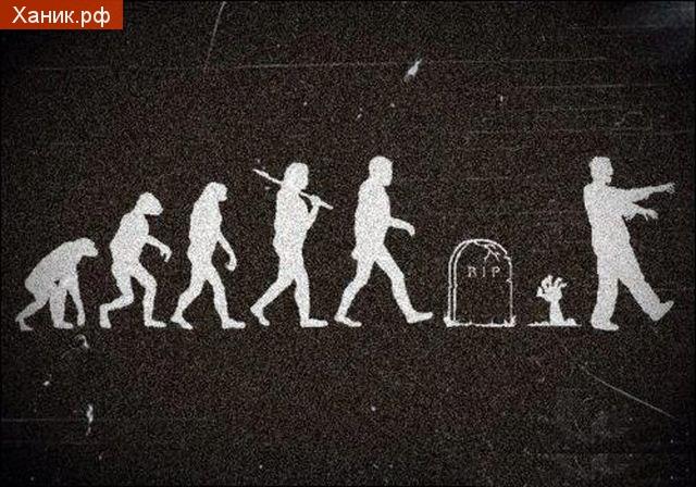 Одна из версий эволюции . Могила, зомби, Дарвин