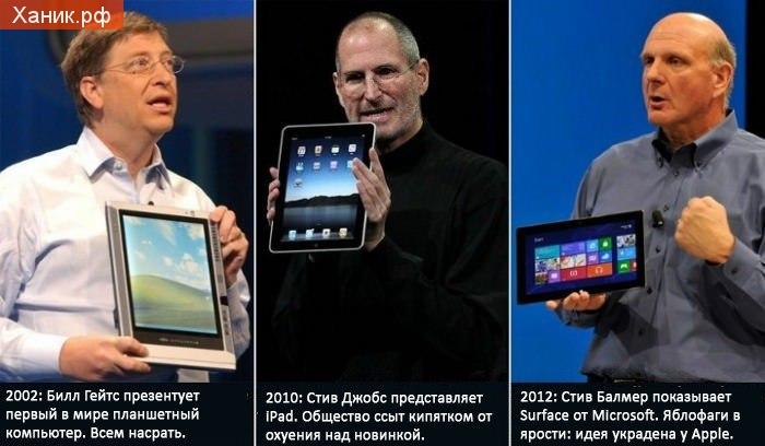 2002. Билл Гейтс презентует первый в мире планшетный компьютер. Всем насрать., 2010. Стив Джобс представляет IPad. Общество ссыт кипятком от охуения над новинкой., 2012. Стив Балмер показывает Surface. Яблофаги в ярости. идея украдена у Apple