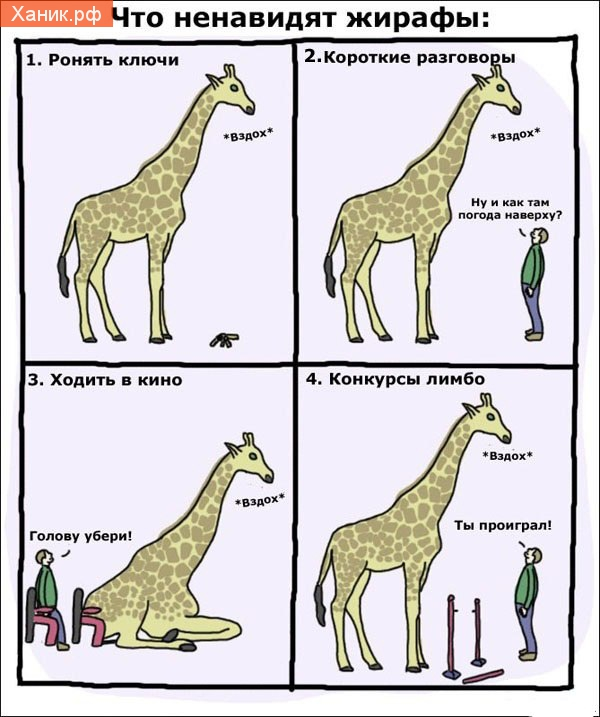 Что ненавидят жирафы. комикс. Ронять ключи! Вздох. Короткие разговоры. Ну и как там погода наверху? Ходить в кино. Голову убери. Конкурсы лимбо. Ты проиграл