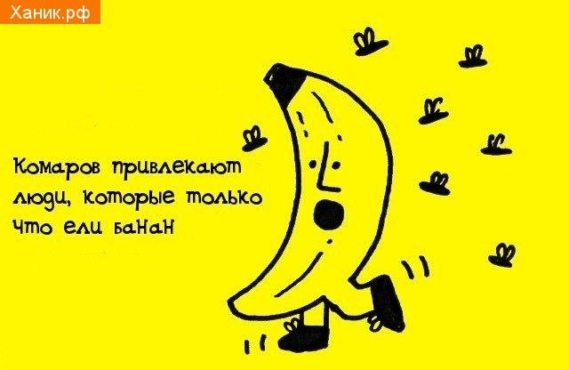 Комаров привлекают люди, которые только что ели банан