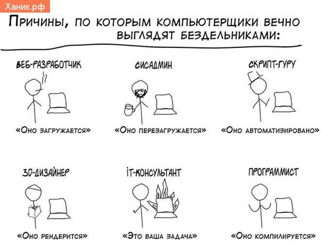 Причины, пока которым компьютерщики вечно выглядят бездельниками. Веб-разработчик. Оно загружается. Сисадмин. оно перезагружается. Скрипт-гуру. Оно автоматизировано. 3D дизайнер. Оно рендерится. ИТ-консультатн. Это ваша задача. программист. Оно компилируется