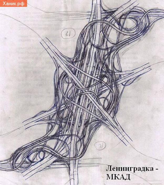 Развязка. Ленинградское шоссе. МКАД. Эксиз Лужкова.