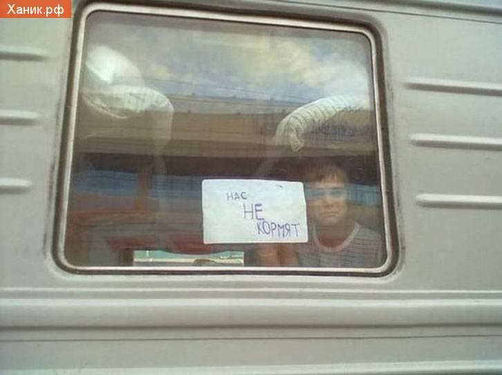 Нас не кормят. Табличка на стекле в поезде