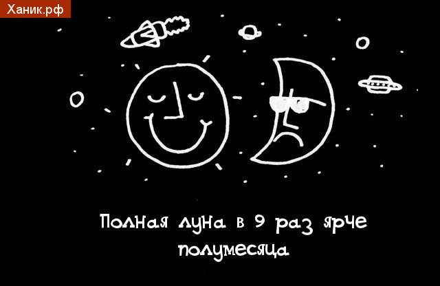 Полная луна в 9 раз ярче полумесяца