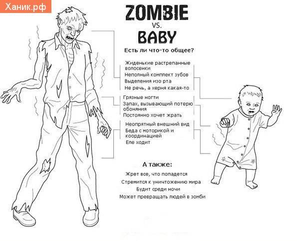 Zombie vs Baby. Есть что-то общее. Жрет все что попадется. Стремится к уничтожению мира.