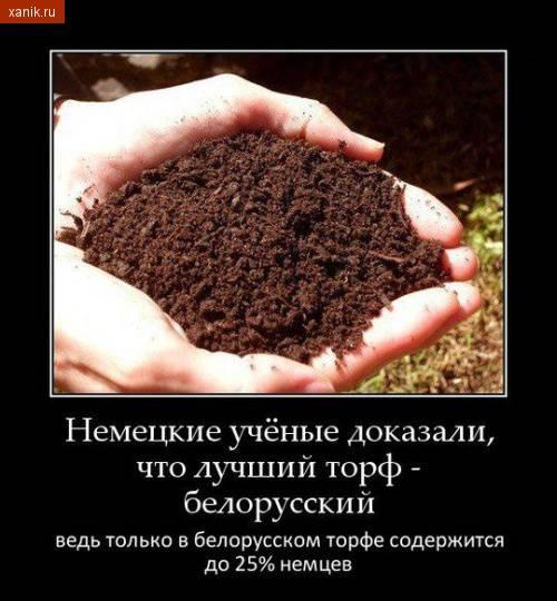 Демотиватор. Немецкие ученые доказали, что лучший торф - белорусский. Ведь в белорусском торфе содержится до 25% немцев..