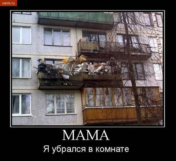 Демотиватор. Мама.. я убрался в комнате.